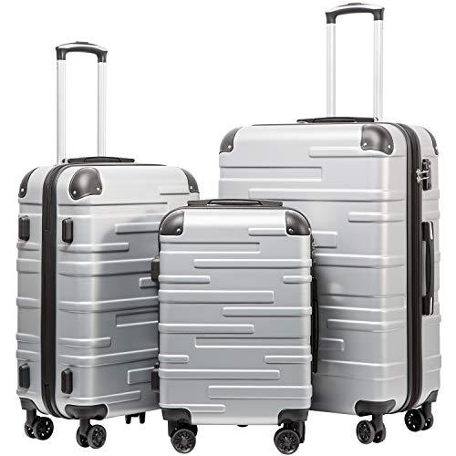 COOLIFE Hartschalen-Koffer Rollkoffer Reisekoffer Vergrößerbares Gepäck (Nur Großer Koffer Erweiterbar) ABS Material mit TSA-Schloss und 4 Rollen(Silber, Koffer-Set)