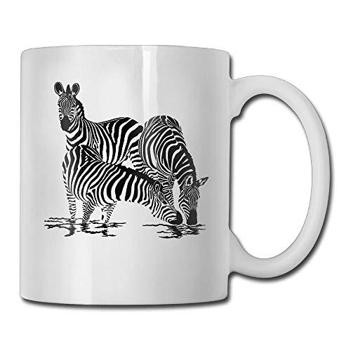 N\A Zebra Drink Water Black Taza de café de 11 onzas Novedad Taza de té Blanca de cerámica Taza de café Taza de té Regalo para el día del Padre o Amigo, Madre, cumpleaños