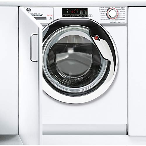 Hoover H-Wash & Dry HBDS485D1ACE Integrated Washer Dryer, 8KG Wash/5KG Dry, 1400 RPM White/Chrome