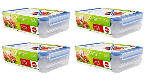 Emsa 508557, 4 x Aufschnittbox-System mit Deckel, 1.65/1 Liter, Transparent/Blau, Clip & Close + Gratis 4er EKM Living Edelstahl Trinkhalme