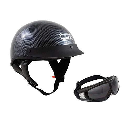 MMG 205 Motorcycle Half Helmet Cruiser DOT Street Legal. Carbon Fiber (Medium). Includes Smoked Riding Goggles