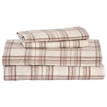Amazon Brand – Stone & Beam Rustic 100% Cotton Plaid Flannel Bed Sheet Set Easy Care California King Ivory and Cream