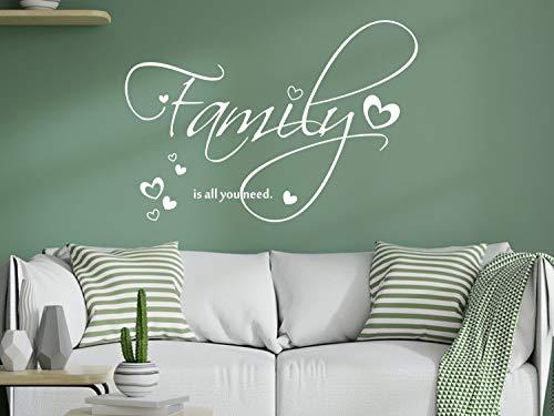GRAZDesign Wandtattoo Familien Spruch auf Englisch - Family is All You Need – Wandaufkleber für Wohnzimmer / 44x30cm / 070 schwarz