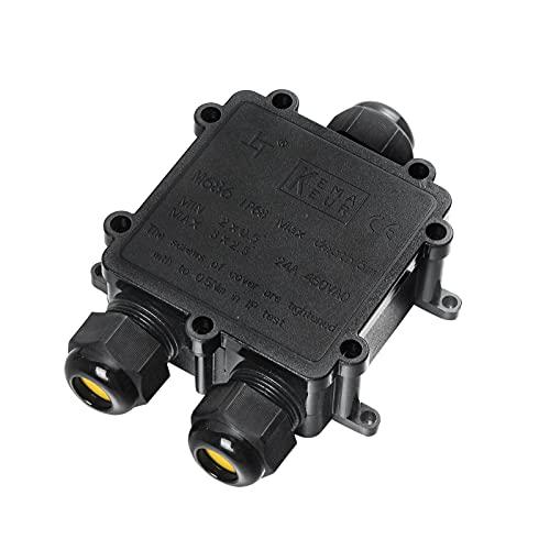 Zacfton Abzweigdose IP68 Wasserdicht Kabelverbinder, Größere 3-Wege-Verbindungsdose, M25 Kabelverschraubung Ø 4mm-14mm, ABS + PVC (1 Stück, Schwarz)