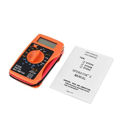 Kaemma DT83B Multímetro Digital Integrado de Bolsillo Medidor de Corriente de Voltaje de CA/CC Probador de ohmímetro de Corriente Moderna Prueba de Resistencia de diodo (Color: Naranja)
