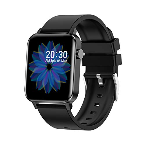 Smartwatch, Fitness Tracker mit Pulsmesser, IP68 wasserdicht, Schrittzähler, Aktivitätstracker für Damen und Herren (schwarz)