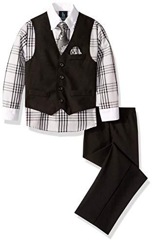 Steve Harvey Boys' Little Four Piece Vest Set, Black, 6