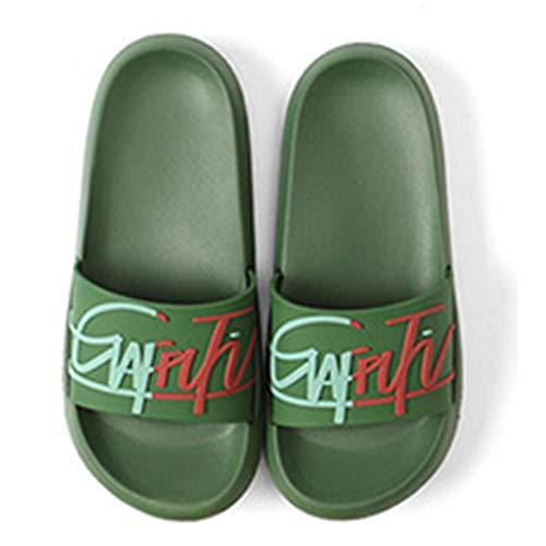 OUGEA Summer Inicio Pareja Zapatillas Mujer Antideslizante cómodo INS Viento Inglés-Verde_42-43 Yardas
