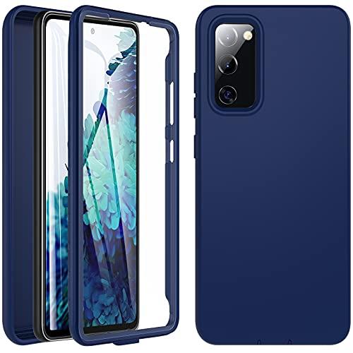 Für Samsung Galaxy S20 FE Hülle, Handyhülle Samsung S20 FE, Stoßfest Hülle 360 Grad R&umschutz Schutzhülle Liquid Silikon Hülle TPU Robust Bumper Outdoor Cover Mit Eingebautem Bildschirmschutz,Navy blau