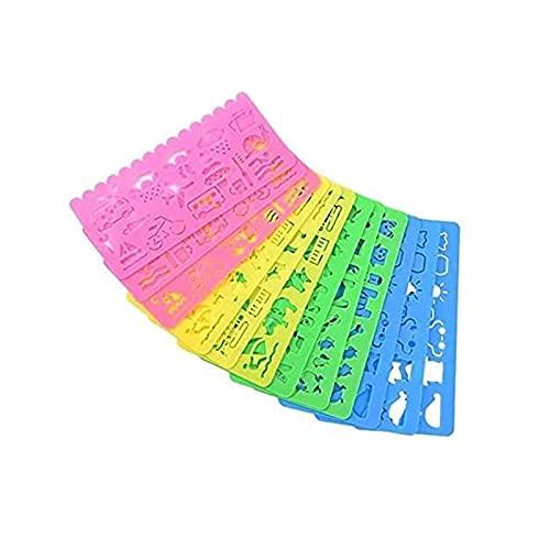 LEBQ Set di Stencil Stampini da Disegno in Plastica per Bambini, 74 Forme, 24 Pezzi