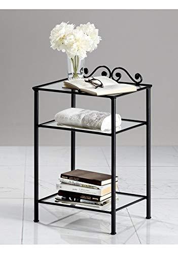 Comodino in Ferro battuto, nero e bianco, 3 ripiani in vetro (Nero grafite)
