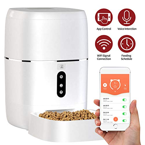 Automatic Pet Feeder, Smart Food Dispenser Dog Cat Feeder, Wi-Fi Enabled APP...