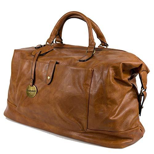 Borsone uomo da viaggio cognac con manici tracolla borsa vintage grande palestra dottore lavoro eco pelle valigia a mano casual voli aereo ecopelle color Cuoio