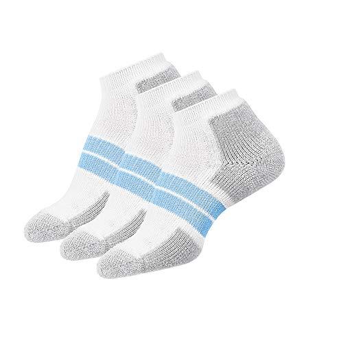 Thorlos Women's 84 N Max Cushion Running Low Cut Socks, White/Pale Blue (3 Pair Pack), Medium