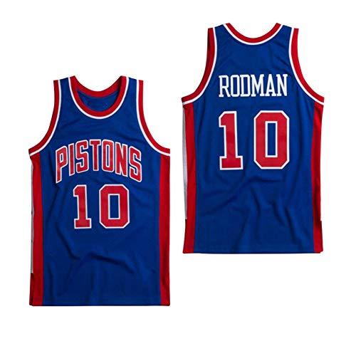 Basketball Trikot -10# Dennis Rodman Detroit Pistons Retro Atmungsaktives Trikot, Swingman Trikot Fitnessstudio Bequeme Weste Sportswear, Bestes männliches Geburtstagsgeschenk (XS-XXL)-S(168.175cm)