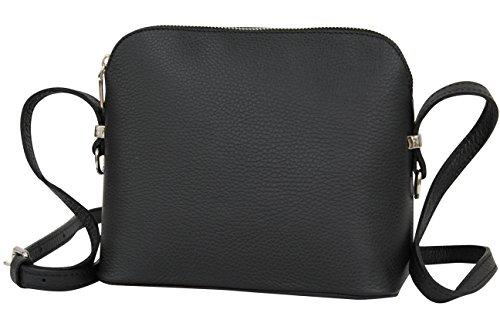 AMBRA Moda Italienische Ledertasche Damen Handtasche Umhängetasche Schultertasche Leder Tasche klein GL018 (Schwarz)