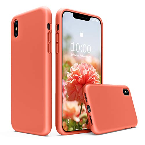 SURPHY Silicone Case for iPhone Xs Case, iPhone X Case, Liquid Silicone Phone Case (with Microfiber Lining) for iPhone Xs 2018 / iPhone X 2017 (Nectarine)