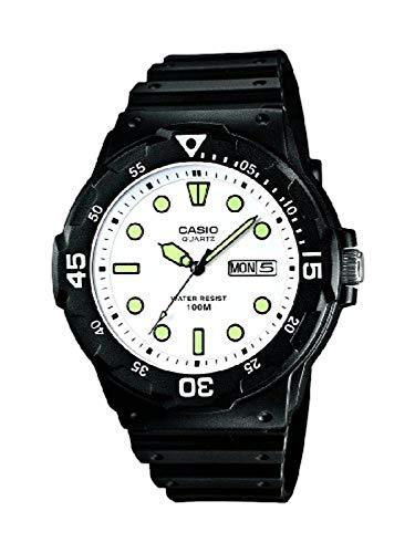Casio Collection MRW-200H-7EVEF, Reloj con Pantalla de Neón, Hombre, Blanco y Verde