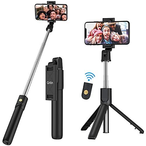 Gritin Palo Selfie Trípode, 3 en 1 Selfie Stick Móvil Bluetooth con Inalámbrico Control Remoto, Monópode Extensible para...