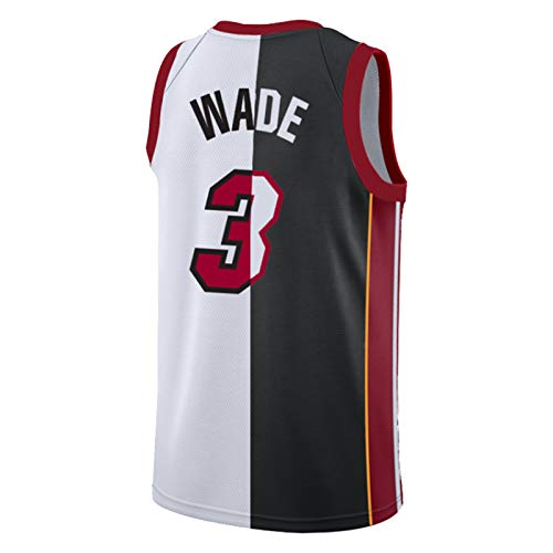 Miami Heat 3# Dwyane Wade Jersey para Hombres, Blanco Blanco Baloncesto Jersey Swing T-Shirt 2021 New Splicing Adulto Classic Retro Basketball Jersey (XS-XXL) Wade 2-L