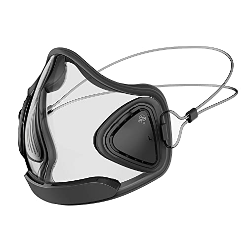 Jelli M1 Antifog Transparent, Breathable Face Mask with Reusable Filter, Adjustable Straps for Adults, Teachers (Midnight)