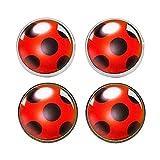 Mqmh Pendientes de la Forma de Ladybug, 4pcs Stud Pendientes, Ladybug Creative Stud Pendientes, Joyas de Insectos exquisitas, Pendientes de botón, Regalos de joyería para Damas y niñas