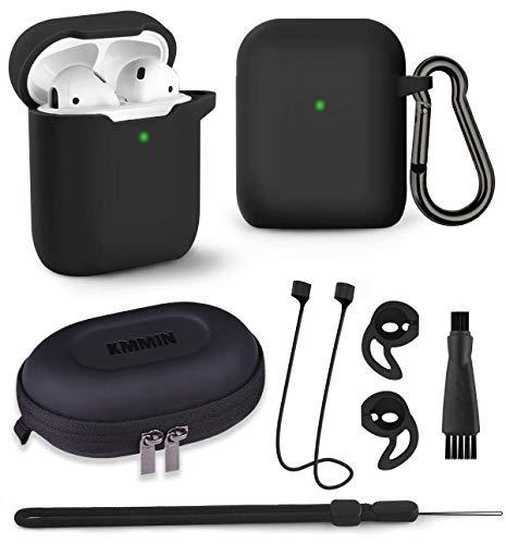 AirPods Hülle, KMMIN AirPods Schutzhülle für Apple AirPods 1 & 2 Wireless Ladekoffer 7 in 1 LED Sichtbar AirPods Case Premium Silikonhülle mit Airpods Zubehör Schlüsselbund Aufbewahrungsbox, Schwarz