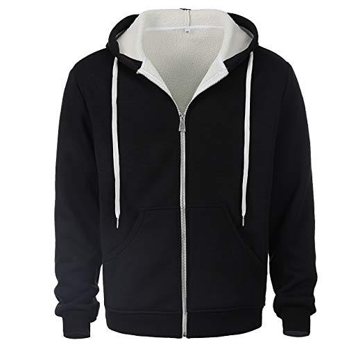 ZIOLOMA Mens Sherpa Lined Zip Up Hoodie Jacket Thermal Full Zip Hooded Fleece Sweatshirt Black