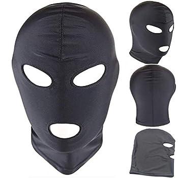 Ski Mask 3 Hole Balaclava Hood Outdoor Sports Hat Summer Face Mask for Men Amateur Training Mask Women Face Mask Cosplay Costume Hood Unisex Headgear  Open Eyes&Mouth  Black