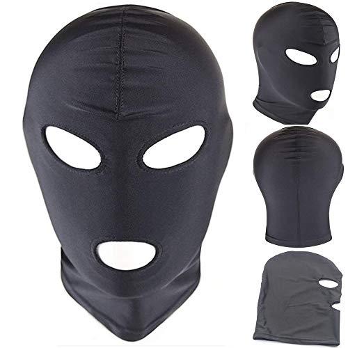 Ski Mask 3 Hole Balaclava Hood Outdoor Sports Hat, Summer Face Mask for Men, Amateur Training Mask Women Face Mask, Cosplay Costume Hood Unisex Headgear (Open Eyes&Mouth) Black