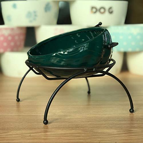MOLOVET ペットセラミックボウル 給餌ボウル 斜め口ボウル 食べやすい餌台 鉄製スタンド おしゃれ 波状パターン 猫や小型犬に適した (グリーン)