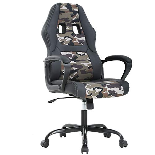 BestOffice Office Chair Gaming Desk Racing Gaming Chair High Back Computer Chair Task Swivel Executive Seat Leather Chair for Home Office (Camo)