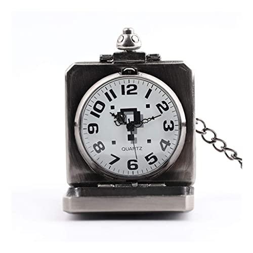 SKYEI Reloj de Bolsillo Elegante clásico.Reloj de Bolsillo y Cadena de Relojes de Bolsillo, Vintage Flip Pregunta Grande Signo Cuadrado Gran dial, como Día del Padre/Regalo/Aniversario/Navidad,Punk