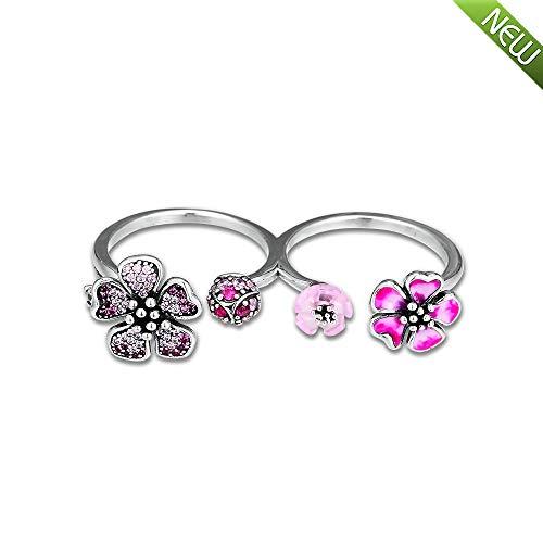 PANDOCCI 2019 Sommer pfirsichblüte Blumen doppel Ringe für Frauen 925 Silber DIY passt für original Pandora armbänder Charme modeschmuck (58#)