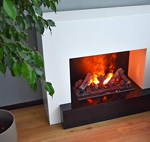 GLOW FIRE Hauptmann Elektrokamin Opti Myst 3D Wasserdampf Feuer, elektrischer Standkamin mit Fernbedienung | Regelbarer Flammeneffekt, 110 cm, Weiß