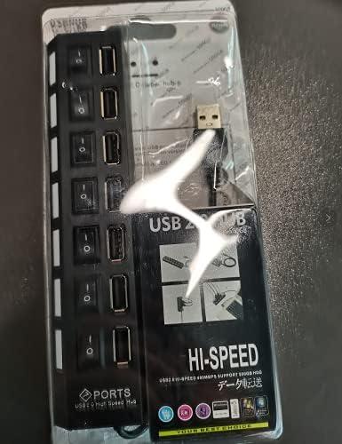 USB Hub, 7 Port USB 2.0 Hub LED Portable High-Speed Compatible for iMac Pro, MacBook Air, Mac Mini/Pro, Surface Pro, PC and Laptop