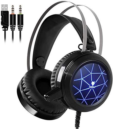 YANG1MN Wired Auriculares Gaming Bajo Profundo Juego De Ordenador Cascos Auriculares con Micrófono Auriculares Iluminación LED For PC