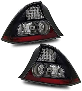 SPPC 2 Door L.E.D Taillights Black Assembly Set for Honda Civic - (Pair) Driver Left and Passenger Right Side Replacement
