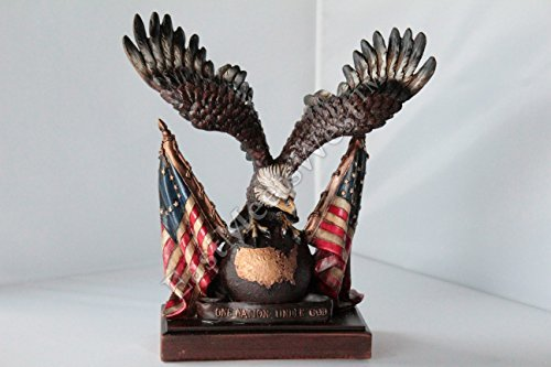 PATRIOTIC EAGLE on Globe Statue Wings Spread American Flags Figurine Sculpture