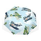 LASINSU 3-Pliable Parapluie Gamme Anti-UV Ombrelle,Vintage Avion allié Volant Motif Dessin animé Enfants Enfants répétant Jouets Dents de Requin,Compact Parapluie
