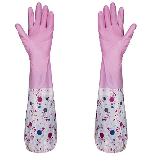 Tianhai Central Air Conditioning Co., Ltd 2 Pairs Kitchen Rubber Cleaning Gloves Household Latex Gloves,for Kitchen Dish Washing Laundry Cleaning. (Pink)