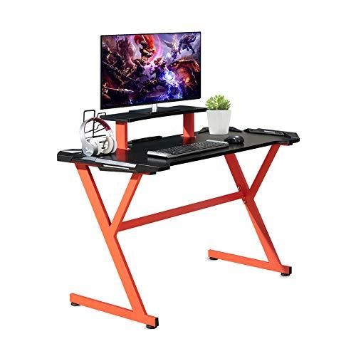 ZENEZ Mesa Gaming, Escritorio Gaming 120x60x73 cm, Mesa Ordenador Escritorio Ordenador Ergonomía con Gran Superficie de Fibra de Carbono, Soporte para Auriculares, para Hogar Oficina (Gray)