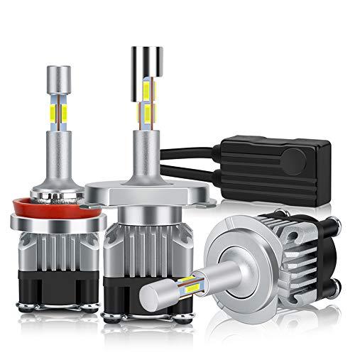 Zyx Bombillas Delanteras del Coche LED, 4 Lados 18000lm H7 LED CANBUS H1 H3 H3 H8 H11 9005 HB3 9006 HB4 Turbo LED Bombilla de Faro 6000K 12V Lámpara de Niebla de luz,9005 hb3