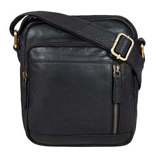 STILORD 'Zac' Tracolla Uomo Piccola in Pelle Vera Borsello Vintage Borsa per Moto in Cuoio Messenger bag Marrone, Colore:nero