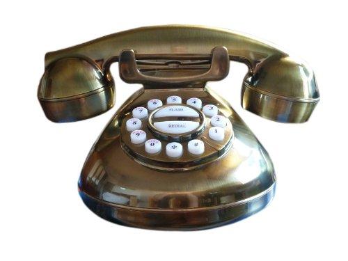 Nostalgie Telefon im Retro mit Wählscheibe - Gold