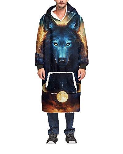Übergroße Tierdruck Hoodie Sweatshirt Decke Weiche Warme Flauschig Plüsch Pullover mit Kapuze Kapuzenpullover Wearable TV-Decke Lässige Homewear mit Fronttasche für Männer Frauen 25 Einheitsgröße