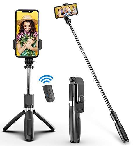 Selfie Stick, Handheld Tripod with Detachable Wireless Remote and Mini Tripod Stand Selfie Stick for GOPRO iPhone XR/iPhone 12/12 Pro/iPhone 11/Galaxy...