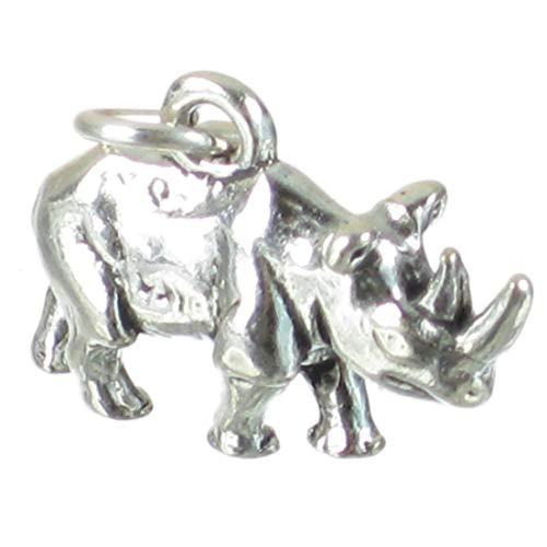 Nashorn Sterlingsilber Charm .925 x 1 Rhino Nashorn Rinos Charms sslp1403
