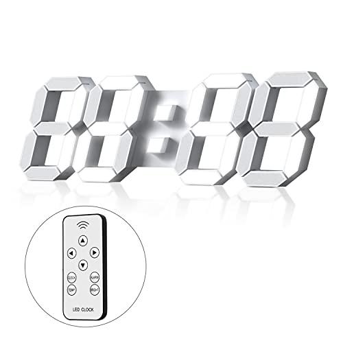 Reloj de Pared Digital Led 3D Despertador Grande Luz de Noche Brillo Ajustable 12/24 Horas Pantalla de Fecha/Temperatura para...