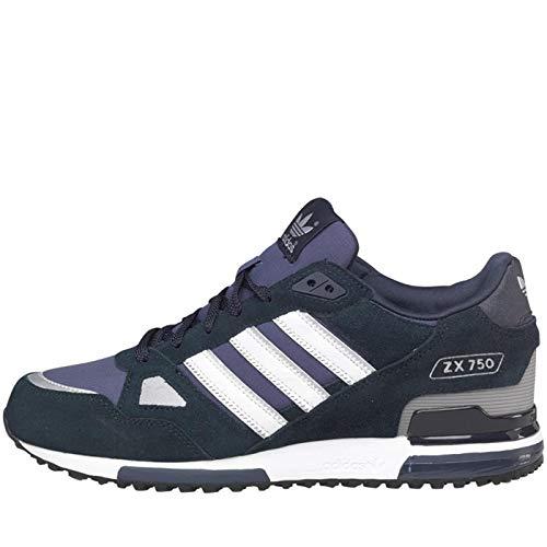 Adidas Originals ZX 750 Wildleder-Herrenturnschuhe, Marineblau/Weiß, 3-Streifen-Design, schwarz - schwarz - Größe: EUR 43